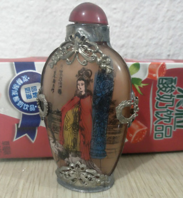Old Tibetan Silver beauty Glass inside painting personage Snuff Bottle