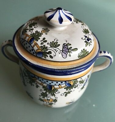 Antique Small Pot French Faience Alfred Renoleau Marked c.1900 Height 10cm