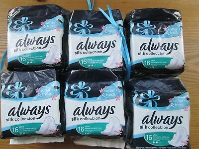 6 PACKS OF 16 Always Silk Collection Sanitary Towels Normal PLUS WITH Wings (KI)