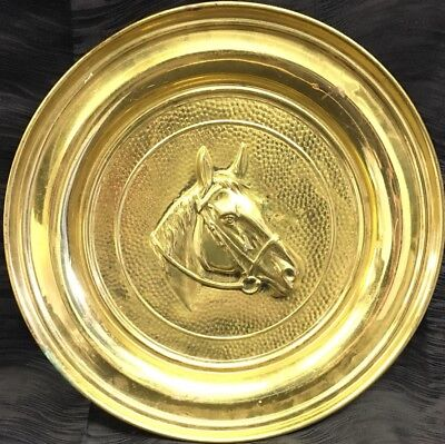 "Vtg Large 16"" Embossed Brass Horse Head Wall Hanging Plaque Plate Equestrian"