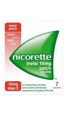 NICORETTE INVISI 15MG PATCH STEP 2 - 7 PATCHES BNIP Uk Stock Free Shipping