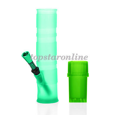 Silicone Folding Water Pipe Hookah Bong&Grinder USA Fast Free Shipping (Green)