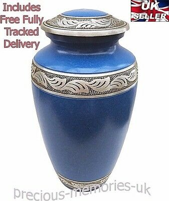 """Large Cremation Ashes Urn - Funeral Memorial - Adult Sized 10"""" Blue & Pewter Urn"""