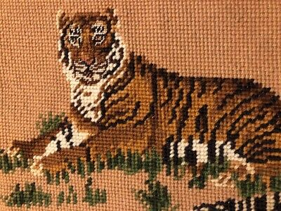 Finished Completed needlepoint African Striped tiger large Green Yellow Brown