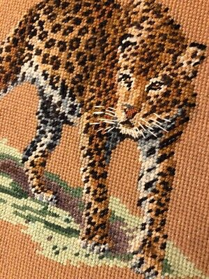 Finished Completed needlepoint African cheetah large Green Yellow Brown