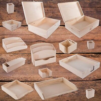 Unpainted Wooden Desk Organiser / SELECTION / Tray Pencil Pot Tidy Stationery