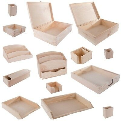 SELECTION of Wooden Office Desk Accessories Tray Memo Tidy Stationery File Paper