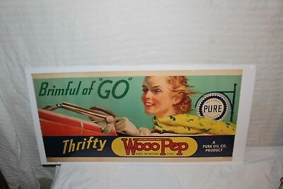 """Rare Vintage 1930's Pure Woco Pep Gasoline Gas Station 26"""" Window Sign"""