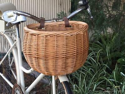 New Vintage Style Wicker Cane Bicycle Basket With Leather Look Straps
