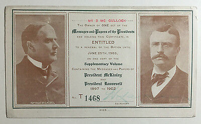 Antique Advertising / Order Card For Messages & Papers of the Presidents, 1903