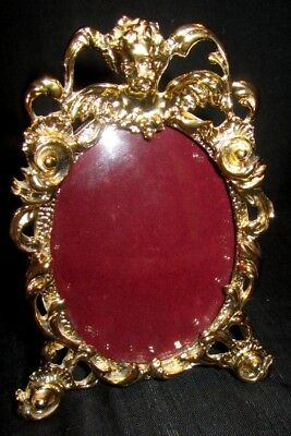 Vintage Ornate Oval Metal Gold Tone Easel Back Picture Frame Convex Glass