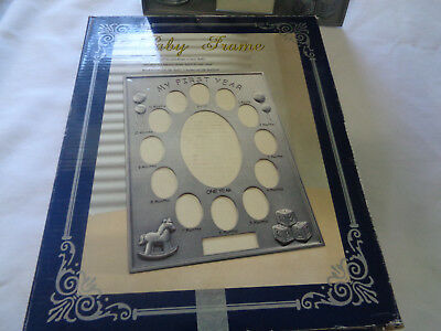 """""""My First Year"""" Baby Photo Picture Frame Unisex - 13 Photo - Silver"""
