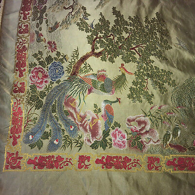 Vintage Peacock Tablecloth Chinoiserie Oriental