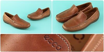 f5956e15ab43c Ecco Men's Sz 42 Brown Leather Loafers Driving Moccasins Slip On Shoes