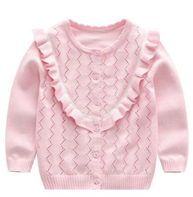 Baby Girl Knitted Cardigan Sweater Toddler Kids Warm Coat Tops Outwear 1Y-6Y
