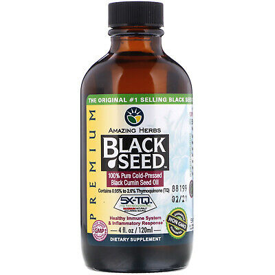 Amazing Herbs  Black Seed  100  Pure Cold-Pressed Black Cumin Seed Oil  4 fl oz