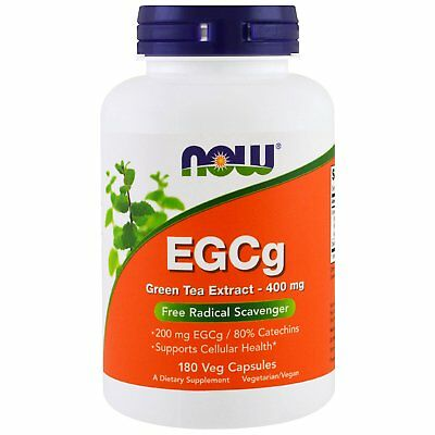 Now Foods EGCg Green Tea Extract 400 mg 180 Veg Capsules GMP Quality Assured,