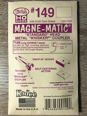 Kadee #149 Whisker® Metal Couplers - Long Overset (HO), 2 pair