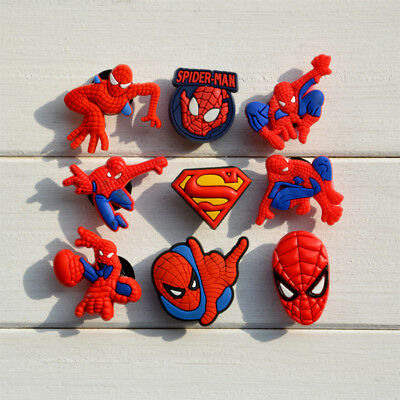 9 x SPIDERMAN  Crocs Shoes Charms Croc Accessories Jibbitz Wristbands For Kids