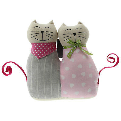 Pair Of Cute Fabric Cats Weighted Filled Decorative Door Stop Stopper Doorstop