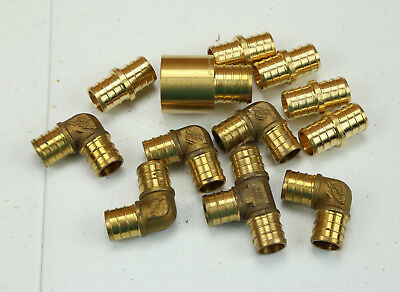 "1/2"" Pex Pipe Brass Fitting Lot 90 Degree Elbows Couping Joints 3/4""x1-1/4"" Part"
