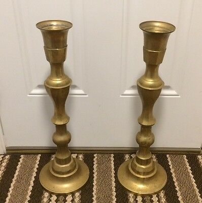 "Vintage Pair of Tall Heavy Hollow Brass (21"") Candlestick Holders"