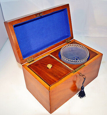 Victorian Mahogany Tea Caddy with Key & Mixing Bowl