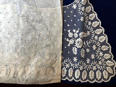 Early 1800s mint condition tambour embroidered lace collar with pattern COLLECT