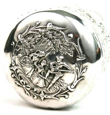 Victorian Sterling Silver Capped Toiletry Jar Man Playing Lute Crinoline Ladies