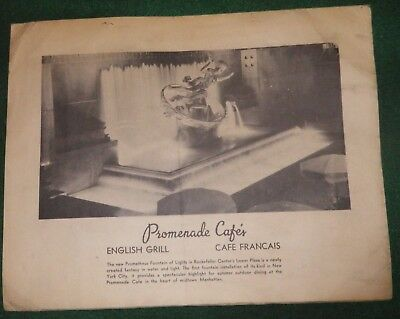 PROMENADE CAFE MANHATTAN - MENU' 1960 - SPEDITO e VIAGGIATO -PROMETHEUS FOUNTAIN