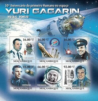 YURI GAGARIN / VOSTOK I First Man in Space MNH Stamp Sheet #1 (2011 Mozambique)