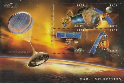 MARS & PHOBOS Exploration/Curiosity/Orbiter/Climate Space Stamp Sheet (St Kitts)