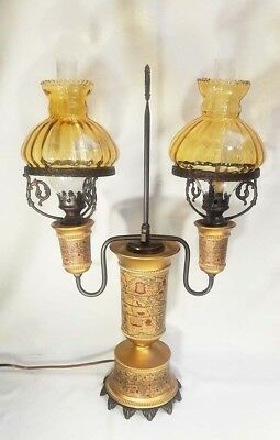 Vintage Italian Old World Map-Motif Dual-Bulb Lamp