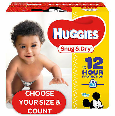 HUGGIES Snug & Dry Diapers Size NB, 1, 2, 3, 4, 5, 6 **CHOOSE SIZE & COUNT**