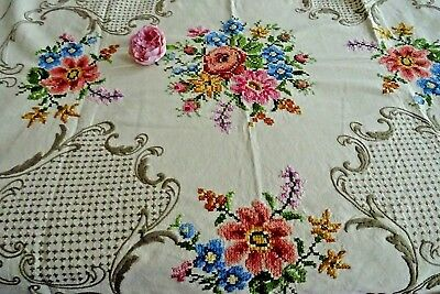 "Vintage Hand Embroidered 47"" Round Tablecloth ~ Cross Stitch Florals"