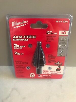 "Milwaukee 48-89-9209 #9 Step Drill Bit 7/8"" and 1-1/8"" New, Sealed!"