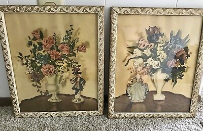 Vintage 1940's Pair Framed Floral Victorian Woman Colonial Man Painting Art Deco