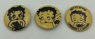 (3) Betty Boop Different Vintage Original Pin Button Pinback 3 Piece Set Lot !!!