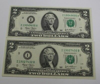 Series 2003 Two Dollar Note Set All New Uncirculated $2 Bills I/A I/B + Star