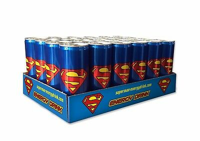 Superman Energy Drink, 1 case 24 cans 250ml.  Low Date stock.