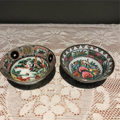Chinese Hand Painted Small Gilt Bowls - Famile Rose - Birds & Butterflies - Vgc