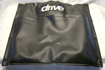 Black Vinyl Pocketed Seat Back with Hardware for Drive Wheelchair