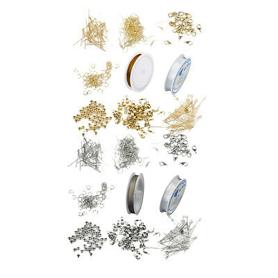 2 Set Jewelry Making Starter Kit Findings Elastic Cord Thread Silver & Gold