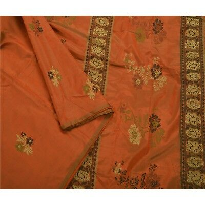 Sanskriti Vintage Antique Saree 100% Pure Silk Woven Craft Fabric Orange Sari