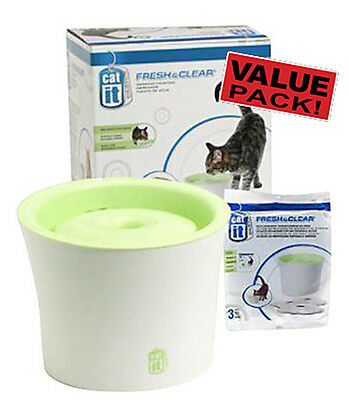 Catit Fresh & Clear Water Pet Fountain - 3 litres + Replacement Filters (3 PACK)