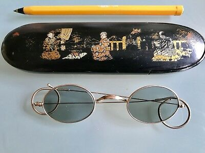 Antique Chinese Sunglasses Case With Chinese Mandarin Gold Plated Sunglasses