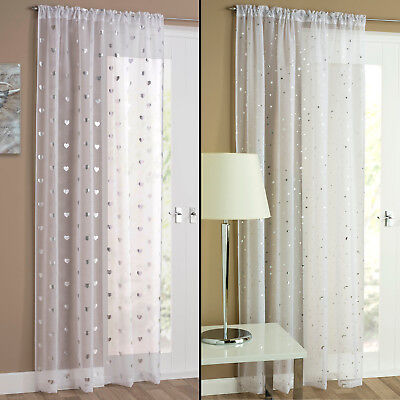 Hearts Stars Slot Top Voile Curtain Door Window Net Panel White Silver
