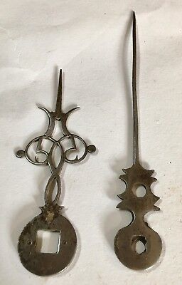 Pair Early 17/18th Century Steal Lantern Longcase/Grandfather Clock Finger /hand