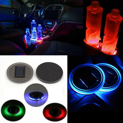 2X LED Light Car Solar Cup Holder Bottom Pad for Auto Interior Atmosphere Lights