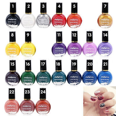 Black White Stamp Printing Nail Polish Painted Nail Art